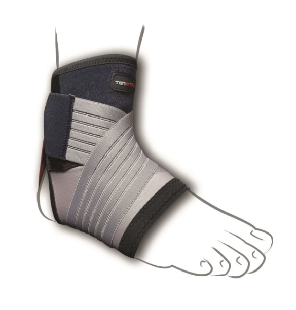Elastic Ankle Support with Carbon Fibre & Integrated Taping for Ankle Sprain Tendonitis